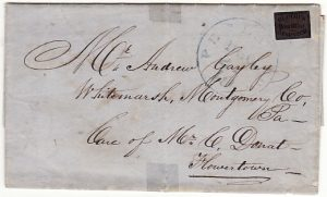 USA [1848 BLOOD'S DESPATCH CARRIERS LABEL on ENTIRE]