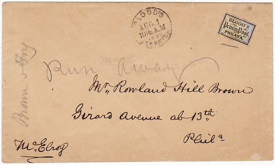 USA [1859 BLOOD'S PENNY POST LOCALLY USED ENVELOPE]