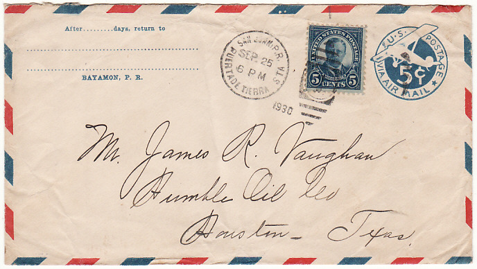 [18402]  PUERTO RICO - USA…1930 UPRATED STATIONARY….   1930 (Sep 25)