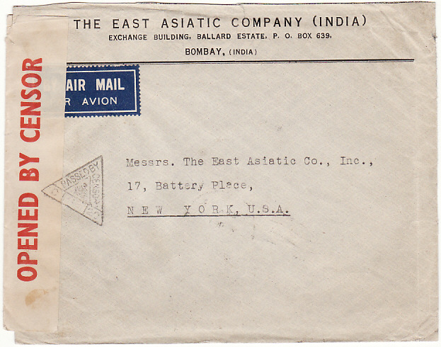 [18926]  INDIA - USA… WW2 CENSORED AIRMAIL with PERFINS..  1942 (Feb 8)