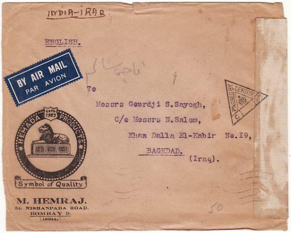 INDIA - IRAQ… WW2 CENSORED AIRMAIL ..