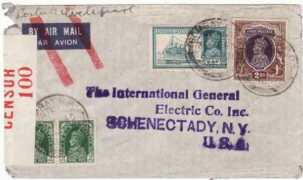 INDIA - USA… WW2 CENSORED AIRMAIL ..