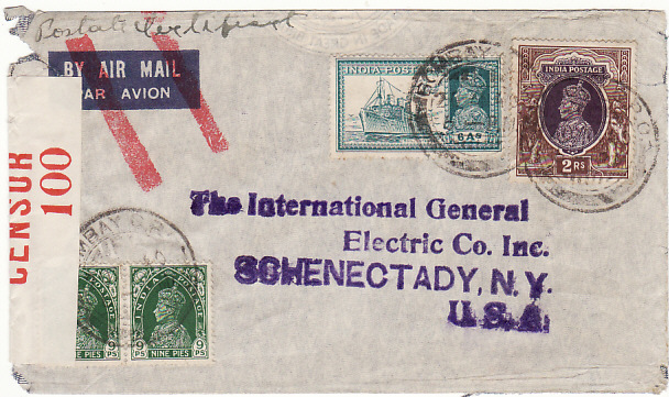 [18946]  INDIA - USA… WW2 CENSORED AIRMAIL ..  1940 (Aug 20)