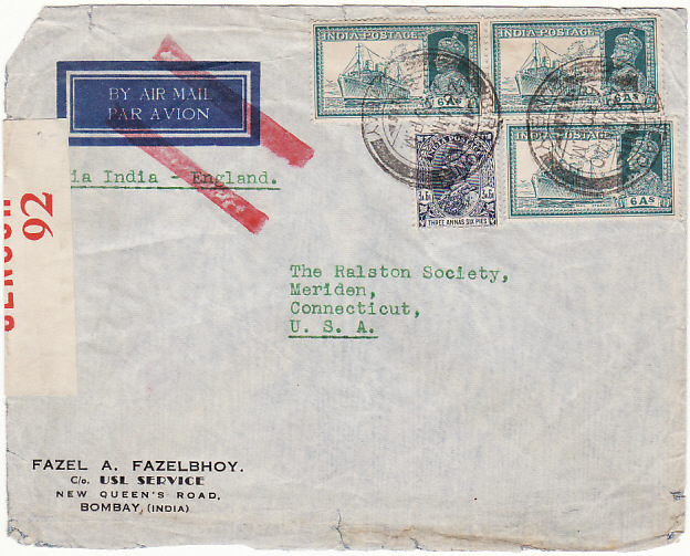[18947]  INDIA - USA… WW2 CENSORED AIRMAIL ..  1940 (Jan 26)