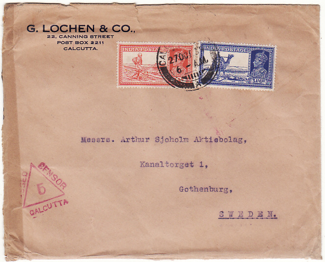 [18951]  INDIA - SWEDEN… WW2 CENSORED ..  1939 (Oct 27)