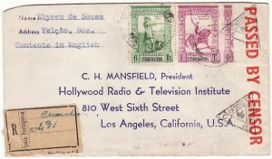 PORTUGUESE INDIA - USA… WW2 REGISTERED CENSORED ...