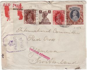 INDIA - SWITZERLAND… WW2 DOUBLE CENSORED to RED CROSS...