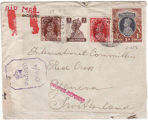 [18967]  INDIA - SWITZERLAND… WW2 DOUBLE CENSORED to RED CROSS...  1942 (Oct 31)