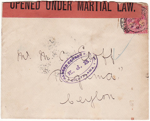 [18992]  SOUTH AFRICA - CEYLON….BOER WAR POW….  1902 (Apr 26)