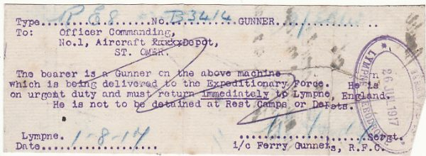 GB - FRANCE….ROYAL FLYING CORPS PASS….
