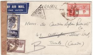 INDIA - CANADA… WW2 CENSORED AIRMAIL ..