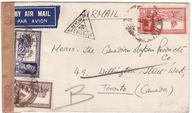 [18945]  INDIA - CANADA… WW2 CENSORED AIRMAIL ..  1941 (Jan 23)