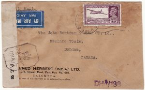 INDIA - CANADA… WW2 CENSORED AIRMAIL..