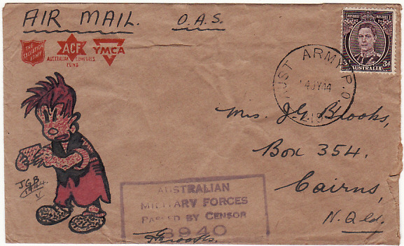 [19069]  PAPUA & NEW GUINEA - AUSTRALIA….WW2 HAND DRAWN CARTOON CHARACTER…  1944 (Jul 14)