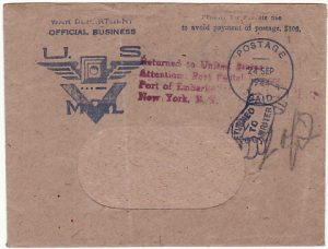 "USA-FRANCE [""V"" MAIL-REURNED TO SENDER]"