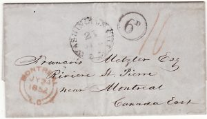 USA-CANADA [1852 ENTIRE WASHINGTON D.C. to MONTREAL]