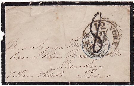 [17959]  USA -FRANCE...1869 TRANS ATLANTIC MAIL by HAMBURG-AMERICAN LINE...  1869 (May 25)