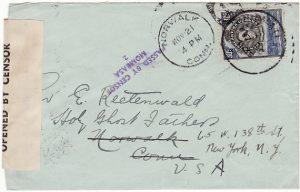 TANGANYIKA - USA..WW2 CENSORED in MOMBASA..