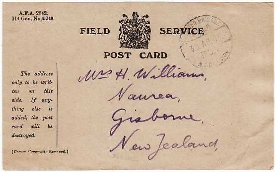 [19132]  NEW ZEALAND ..WW1 TROOPS in EGYPT using FIELD SERVICE CARD..  1916 (Aug 30)