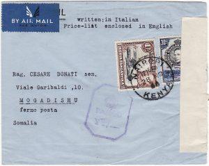 KENYA - ITALIAN SOMALILAND..WW2 CENSORED AIRMAIL..