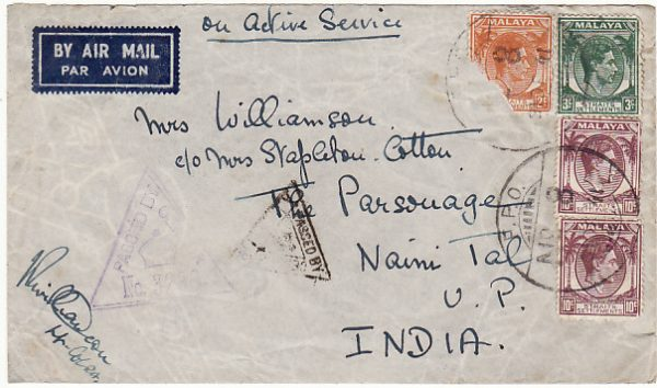 MALAYA-INDIA...1941 WW2 STRAITS SETTLEMENTS CENSORED
