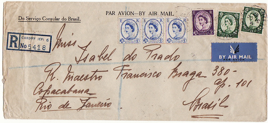 [19148]  GB - BRAZIL…1957 3/9 REGISTERED AIRMAIL RATE from BRAZILIAN CONSULATE..  1957 (Oct 31)