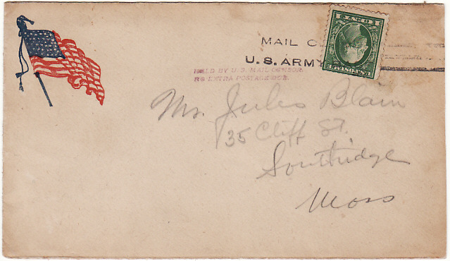 [19160]  USA….201st AERO SQUADRON AEF in FRANCE with HELD BY US MAIL CENSOR…..  1917 (Oct 29)