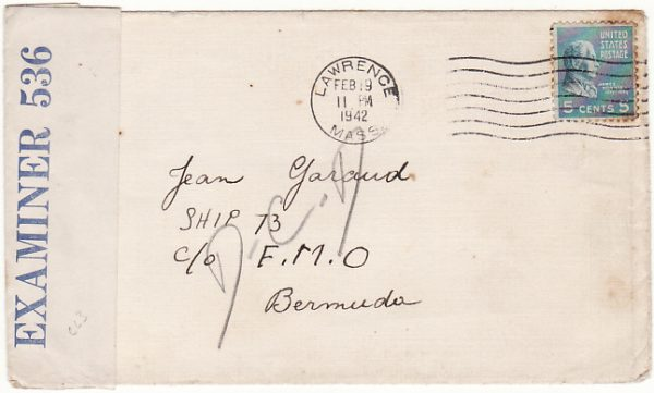 USA - BERMUDA……..WW2 FREE FRENCH NAVAL MAIL