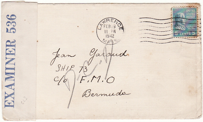 [19162]  USA - BERMUDA……..WW2 FREE FRENCH NAVAL MAIL,…  1942 (Feb 19)