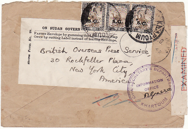[19164]  PALESTINE - SUDAN...REUSED OFFICIALLY to NEW YORK….  1942 (Nov11)