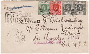 FIJI - USA….WW1 REGISTERED with PATRIOTIC LABEL...