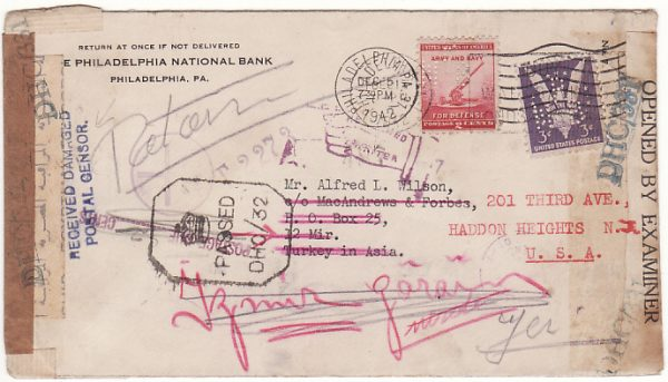 USA - TURKEY..[WW2  TRIPLE CENSORED with PERFINS & RETURNED for ADDITIONAL POSTAGE..