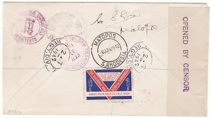 [19172]  RHODESIA - USA...WW2 REGISTERED CENSORED PATRIOTIC..  1942 (Jan 6)