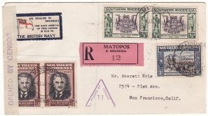 RHODESIA - USA...WW2 REGISTERED CENSORED PATRIOTIC..