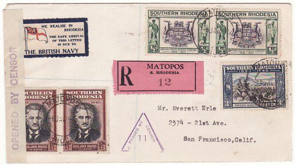 RHODESIA - USA...WW2 REGISTERED CENSORED PATRIOTIC..