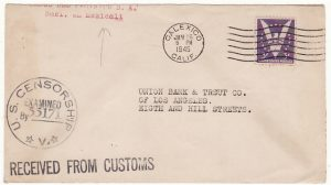 MEXICO - USA...WW2 RECEIVED FROM CUSTOMS US TRAVELLERS CENSOR..