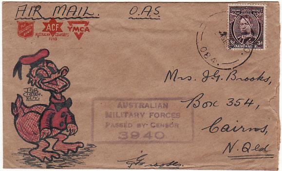 PAPUA & NEW GUINEA - AUSTRALIA….WW2 HAND DRAWN CARTOON CHARACTER…