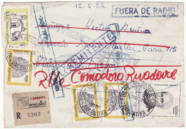 ARGENTINA…...FALKLANDS WAR PERIOD REGISTERED & RETURNED MILITARY MAIL…