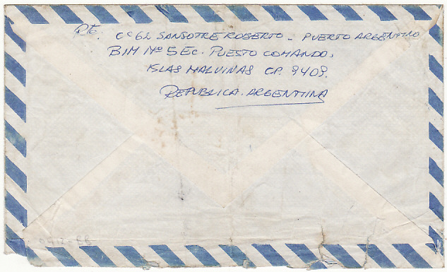 [16338]  ARGENTINA….FALKLANDS WAR MILITARY MAIL ...  1982 (May 20)