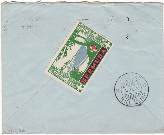 [16577]  BERMUDA - CURACAO...WW2 BRITISH FORCES CENSORED with PATRIOTIC LABEL…  1941 (Aug 27)