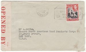BERMUDA - USA...WW2 CENSORED with UNRECORDED PC 102 NUMBER..