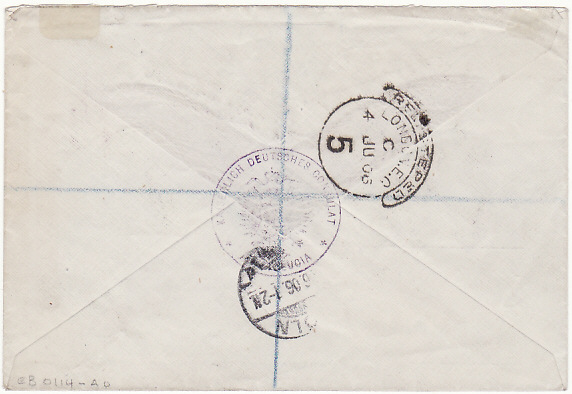 [17550]  ST. LUCIA - GERMANY.....EDVII REGISTERED ENVELOPE from GERMAN CONSULATE...  1906 (May 18)