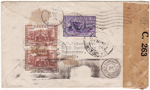 [15458]  CANADA - BAHRAIN…WW2 CENSORED UNDERPAID AIRMAIL…  1942 (Nov 9)