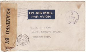 CANADA - BAHRAIN…WW2 CENSORED UNDERPAID AIRMAIL…