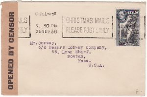 "CEYLON - USA...WW2 CENSORED with ""K"" label…"