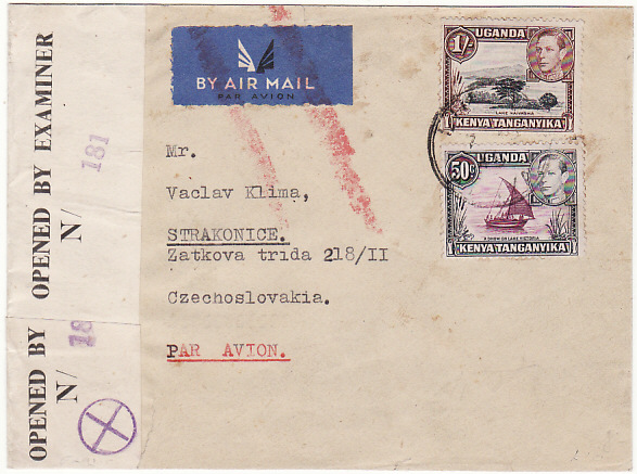 [16181]  KENYA - CZECHOSLOVAKIA….WW2 CENSORED AIRMAIL…  1945 (Sep 7)