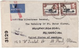 UGANDA - USA...WW2 CENSORED AIRMAIL with JUSQU'A MARKING..