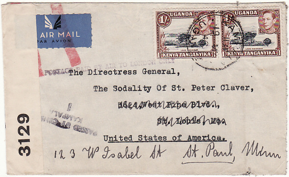 [16585]  UGANDA - USA...WW2 CENSORED AIRMAIL with JUSQU