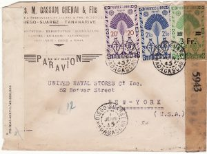 MADAGASCAR - USA…WW2 DOUBLE CENSORED AIRMAIL..