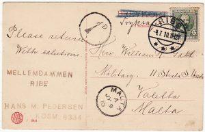 DENMAR K -MALTA…1910 POSTAGE DUE..